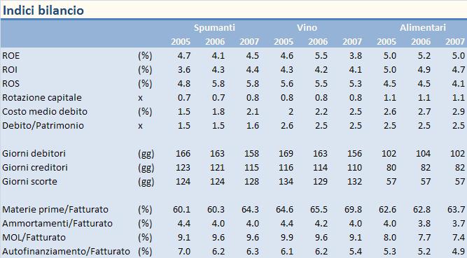 INDICI BILANCIO SPUMANTI 2007 1